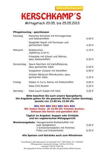 Mittagstisch 20.05. bis 25.05.2013