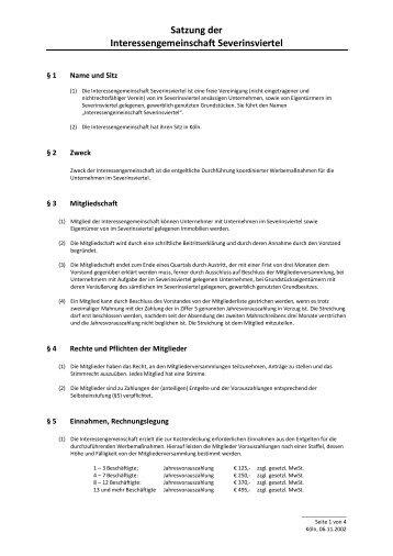 Satzung der Interessengemeinschaft Severinsviertel