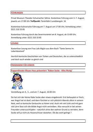 7. August, jeweils um 17:00 Uhr Treffpunkt: Torei - Einkaufen im ...