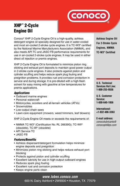 Conoco XHP 2-Cycle Engine Oil (PDF) - Severson Oil Company