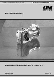 Edelstahlgetriebe Typenreihen KES.37 und RESF37 - SEW Eurodrive
