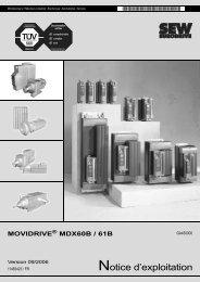 Notice d'exploitation MOVIDRIVE MDX60B / 61B - SEW Eurodrive