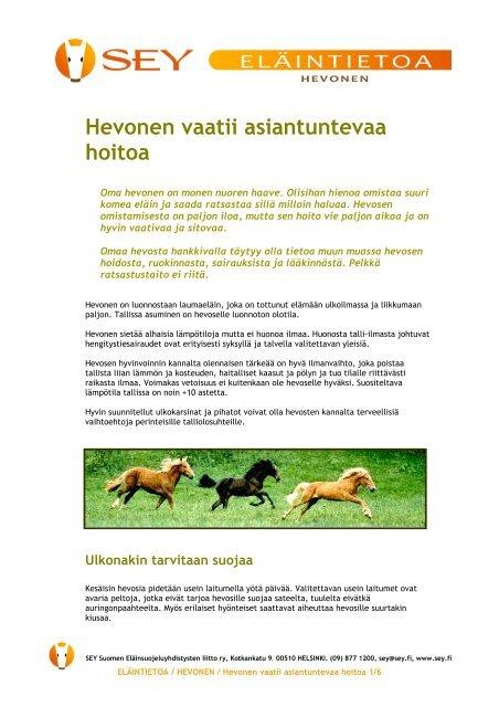 Hevonen vaatii asiantuntevaa hoitoa (pdf) - SEY Suomen ...
