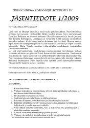 jäsentiedote 1/2009 - SEY Suomen Eläinsuojeluyhdistysten liitto ry