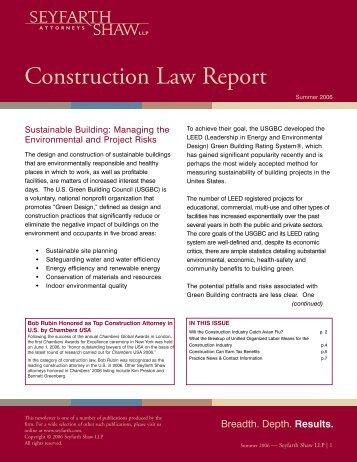 ConstructionLawReport 7-06 v.2.qxp - Seyfarth Shaw LLP