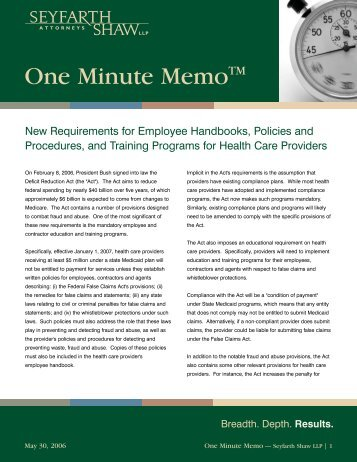 New Requirements for Employee Handbooks... - Seyfarth Shaw LLP
