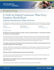 E-Verify FAQs E-Verify for Federal Contractors - Seyfarth Shaw LLP