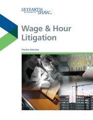 Wage & Hour Litigation - Seyfarth Shaw LLP