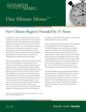 New Climate Registry Founded by 31 States.indd - Seyfarth Shaw LLP