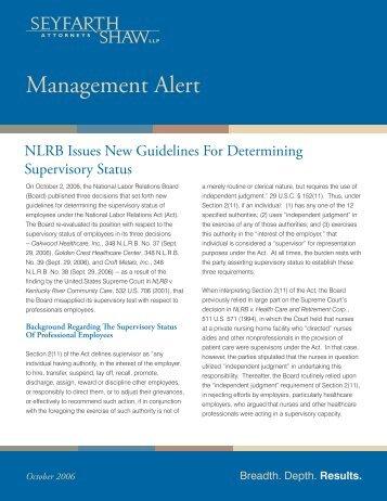 Management Alert 10.5.06.indd - Seyfarth Shaw LLP