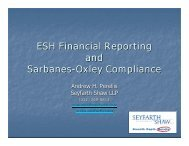ESH Financial Reporting and Sarbanes-Oxley Compliance