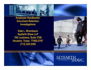 Employee Handbooks - Seyfarth Shaw LLP
