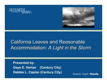 California Leaves and Reasonable Accommodation - Seyfarth Shaw ...