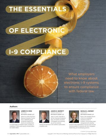 The eSSenTIAlS oF elecTronIc I-9 comPlIAnce - Seyfarth Shaw LLP