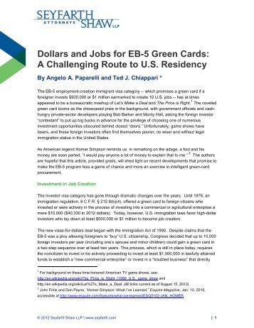 Dollars and Jobs for EB-5 Green Cards - Seyfarth Shaw LLP
