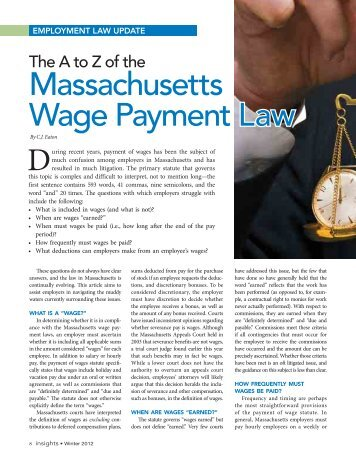Massachusetts Wage Payment Law - The Wage and Hour Litigation ...
