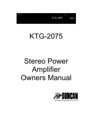 KTG-2075 Stereo Power Amplifier Owners Manual - Seymour Duncan