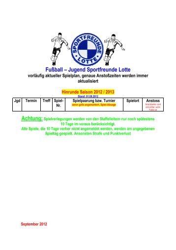 Jugendspielplan 01092012 - Sportfreunde Lotte