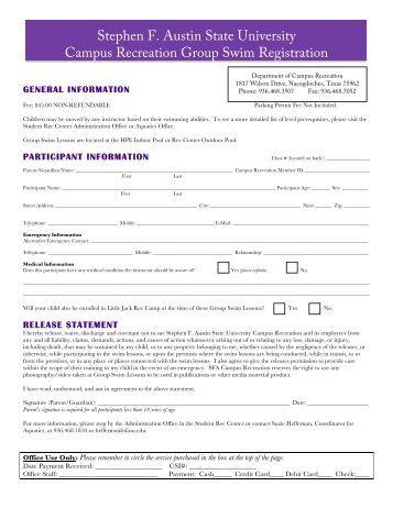 Continuous Swim Lesson Registration Form Life Time Fitness