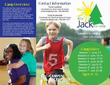 2013 Little Jack Rec Camp Brochure