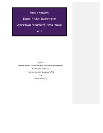 Program Handbook Stephen F. Austin State University ...