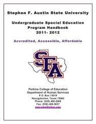 Undergraduate Handbook - Stephen F. Austin State University