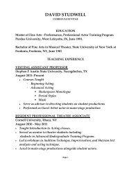 DAVID STUDWELL - Stephen F. Austin State University