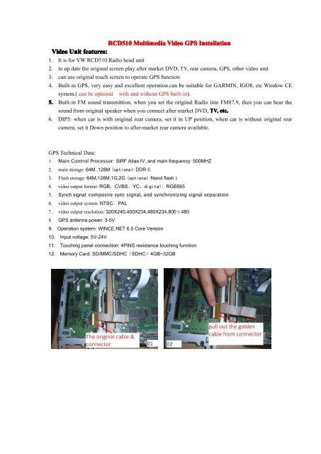 RCD510 Multimedia Video Interface Installation - Eglober