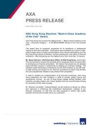 """AXA Hong Kong receives """"Best-in-Class Academy of the Year"""" award"""