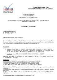 COMPTE RENDU Vendredi 8 juillet 2011 - Pôle Azur Provence