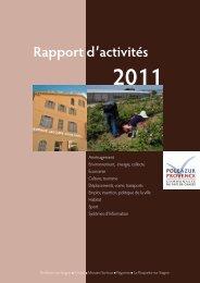 Rapport d'activités 2011 - Pôle Azur Provence