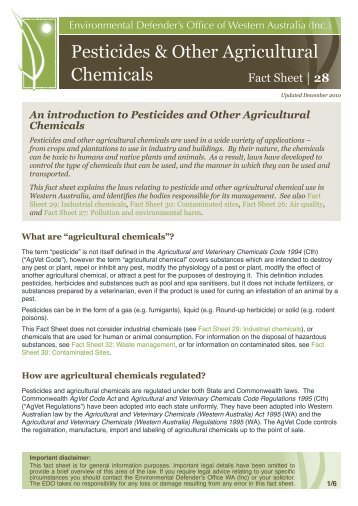 Pesticides & Other Agricultural Chemicals - Environmental ...