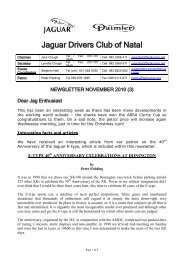 2010/11 - The Jaguar Drivers Club of Natal, South Africa.
