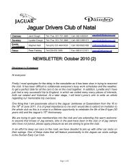 2010/10 - The Jaguar Drivers Club of Natal, South Africa.