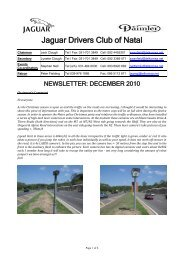 2010/12 - The Jaguar Drivers Club of Natal, South Africa.