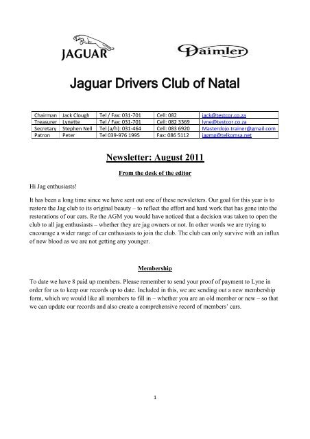 2011/08 - The Jaguar Drivers Club of Natal, South Africa.