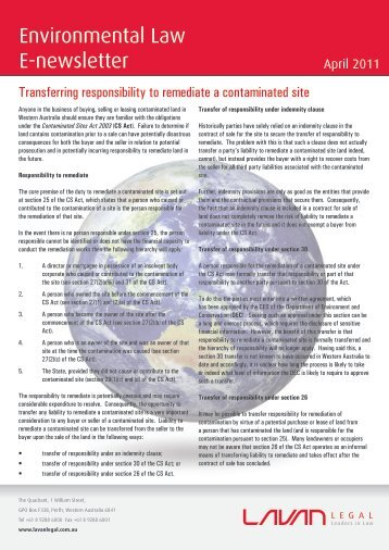 Transferring responsibility to remediate a ... - Lavan Legal