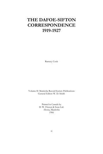 The Dafoe-Sifton Correspondence 1919-1927 - Manitoba Historical ...