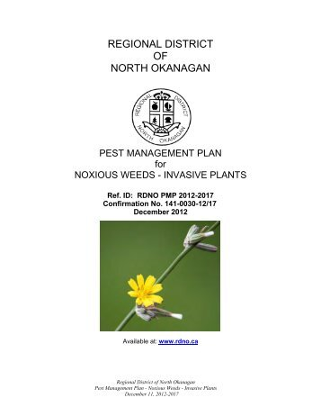 Pest Management Plan for Noxious Weeds & Invasive Plants