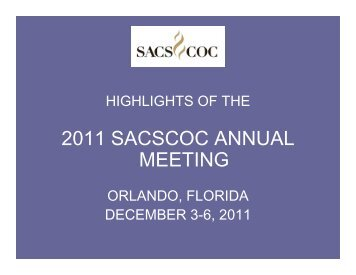 2011 SACSCOC ANNUAL MEETING