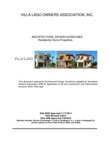 VILLA LAGO OWNERS ASSOCIATION, INC. - Sandestin Owners ...
