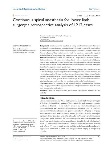 Continuous spinal anesthesia for lower limb surgery: a retrospective ...
