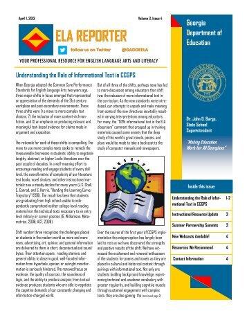ELA Reporter April 2013 - GeorgiaStandards.org