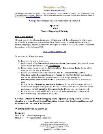 Standards-based Thematic Units - GeorgiaStandards.org