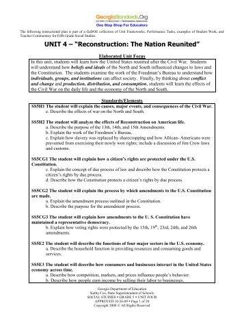 Unit 4 - Reconstruction - GeorgiaStandards.org