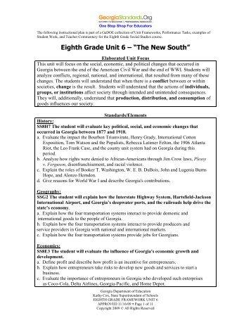 Unit 6 - The New South - GeorgiaStandards.org
