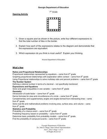 Analytic Geometry Resource Packet - GeorgiaStandards org