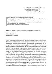 Erfahrung – Erfolg – Entgrenzung. Im Gespräch mit Gerhard Schulze ...