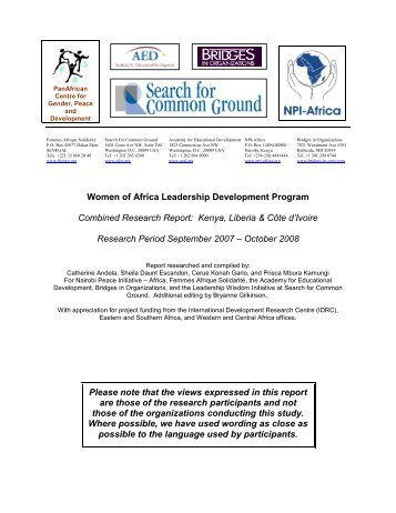 Women of Africa Leadership Development Program Combined ...
