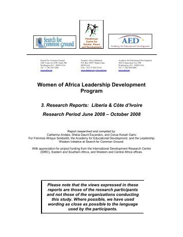 Women of Africa Leadership Development Program - Search for ...